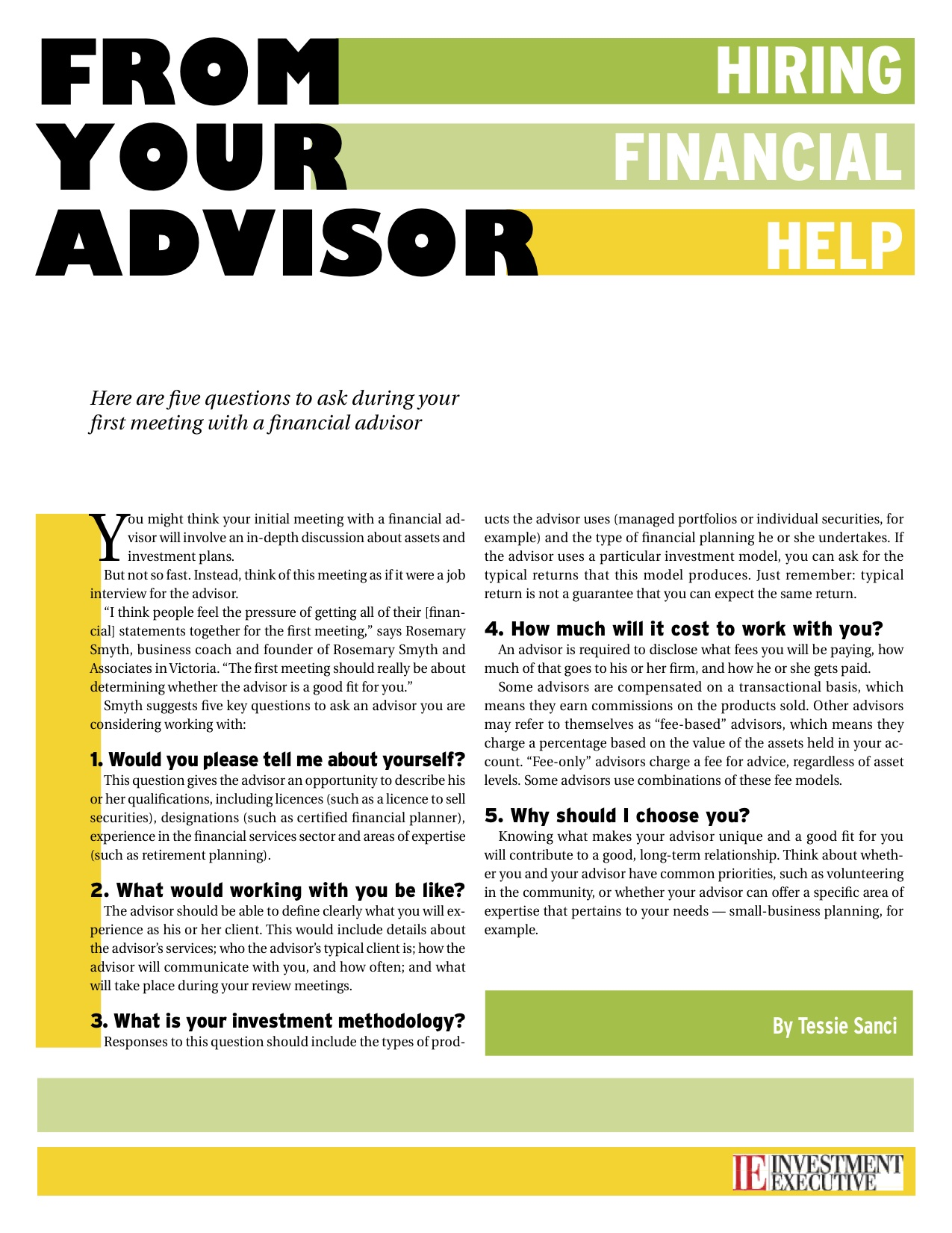 Hiring an advisor