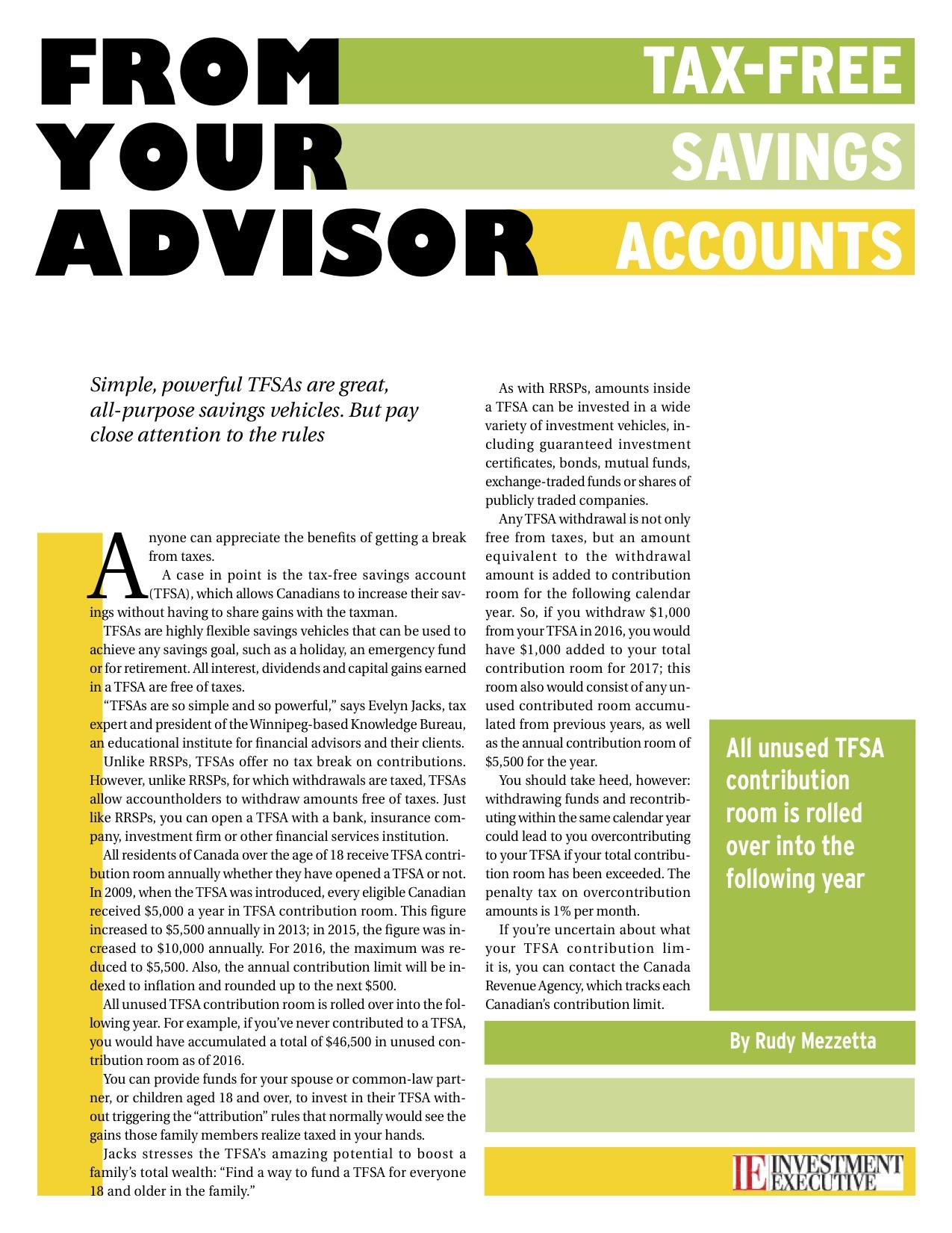 Tax-Free Savings Accounts (TFSAs)