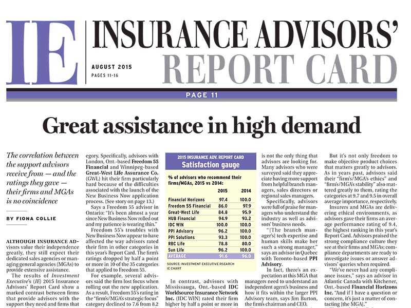 Insurance Report Card 2015