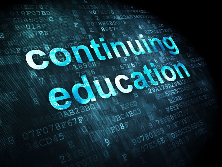 Contnuing education concept: pixelated words continuing education on digital background, 3d render