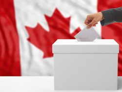 Voter on an waiving Canada flag background