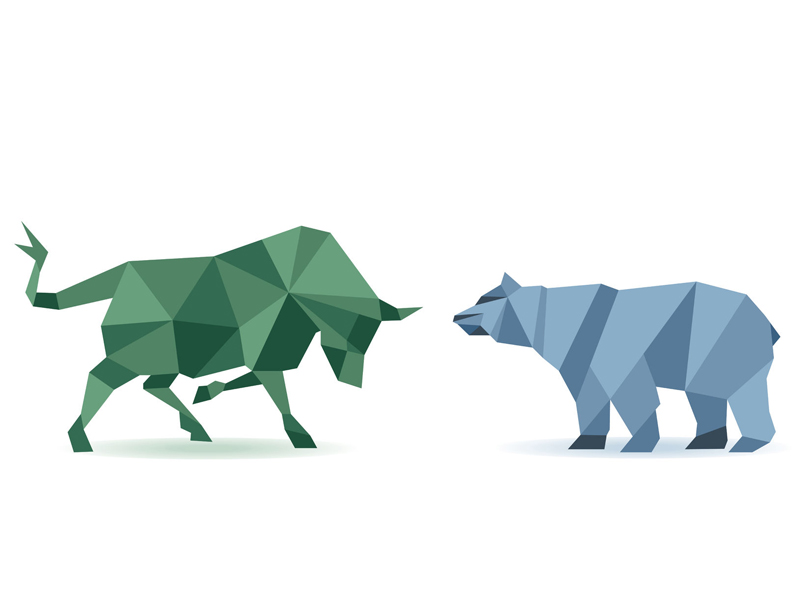 Bear and bull stock market illustration
