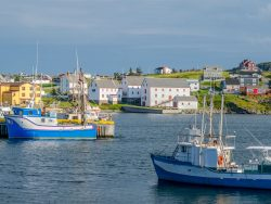 Bona Vista, Newfoundland fishing village. Boats