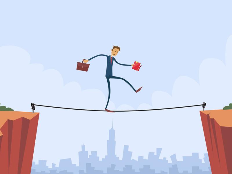 Businessman Walk Over Cliff Gap Risk Mountain Balancing Flat Illustration