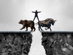Businessman balancing bear bull financial managing stock market illustration