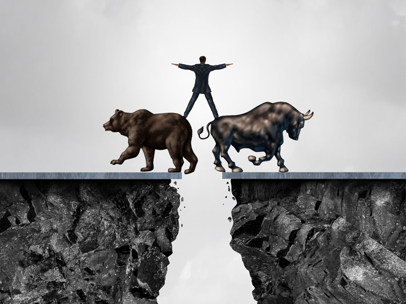 Businessman balancing bear bull financial managing stock market illustration
