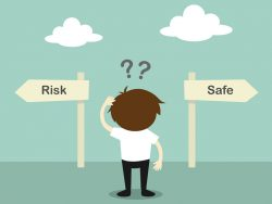 Businessman confused about two direction, between risk or safe vector illustration