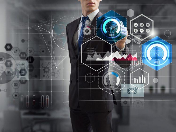 Businessman progress strategy calculations Mixed media