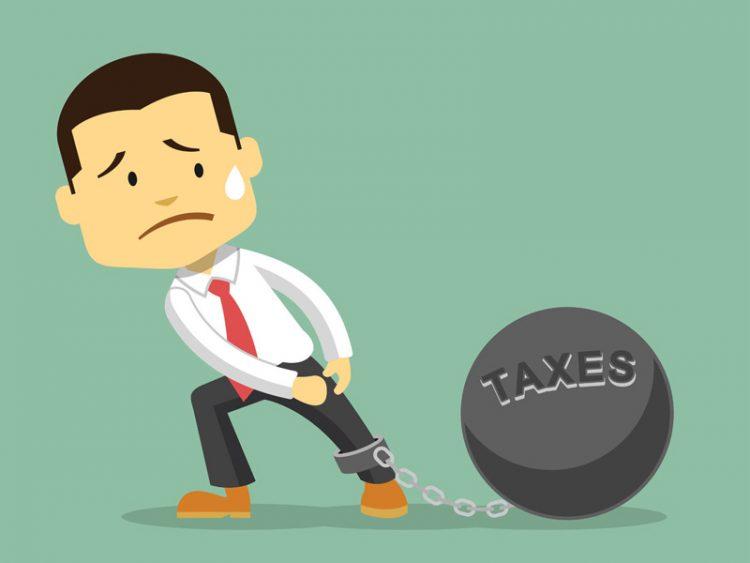 Businessman and tax burden flat illustration