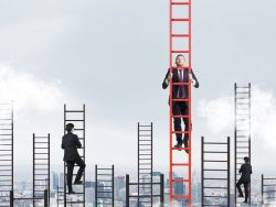 Businessmen climbing corporate ladders new job appointment notice