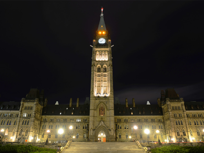 Canada Parliament Building and clock tower at night