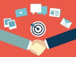 Customer Relationship Management handshake provider and customer flat illustration