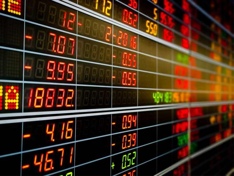 Display board of Stock market quotes