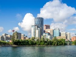 Downtown Calgary with River skyline`
