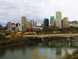 Edmonton city center with River and bridge