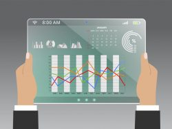 Financial analysis of charts and graphs on tablet illustration