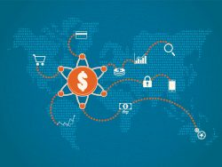 Financial technology and investment concept illustration with map background