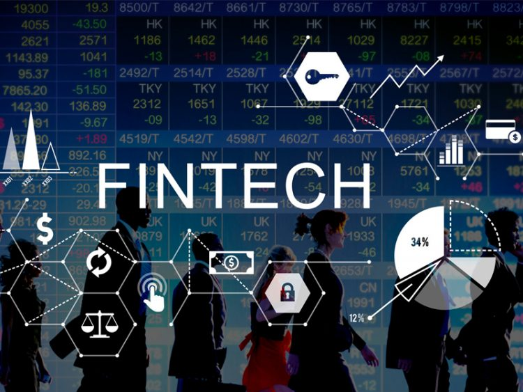 Fintech Investment abstract concept with business people on stock market background