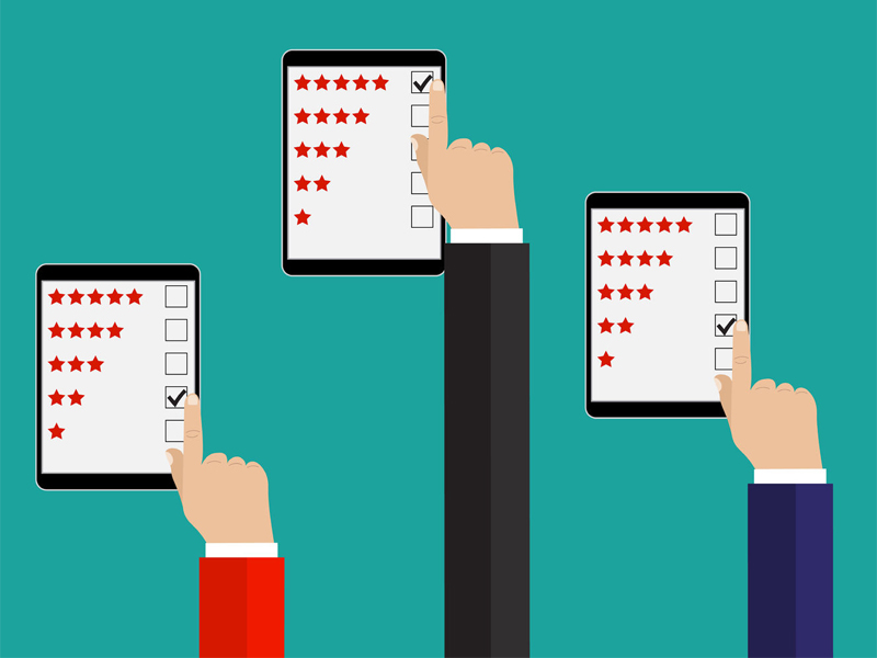 Flat Illustration concept customer rating on tablets
