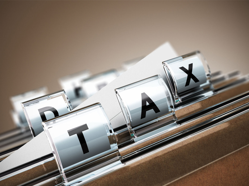 Folder tab with the word tax