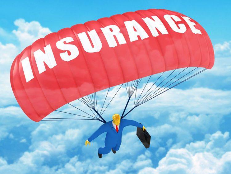 Insurance businessman parachute