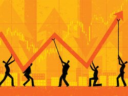 Maintaining Profits economic growth chart businessmen illustration