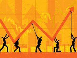 Maintaining Profits economic growth chart businessmen illustration