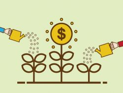 Money Growth Flat design illustration Business person watering money tree economic growth