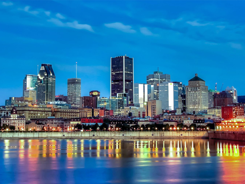 Old Montreal Port Downtown at night