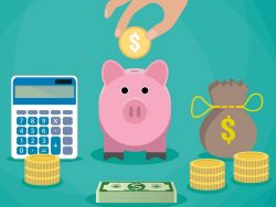Money saving concept, Vector illustration in flat style design, Piggy bank, calculator and hand with coin, Finance symbols and icon