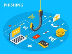 Phishing via internet isometric vector concept illustration Hacking credit card information website Cyber banking attack Online security