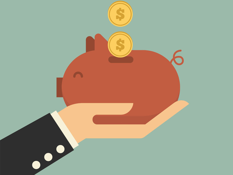 Piggy bank with money flat icon illustration