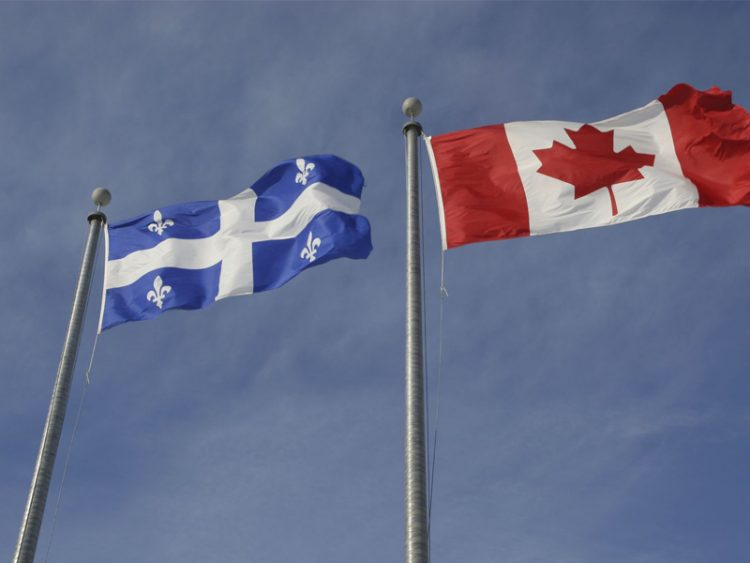 Quebec and Canadian Flags`