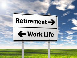 Retirement, work-life, sign post, direction on a field with blue sky