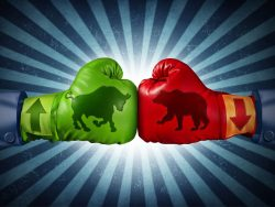 Stock market two boxing gloves with arrows with bull and bear