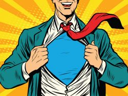 Super hero male businessman pop art illustration new employee star appointment notice