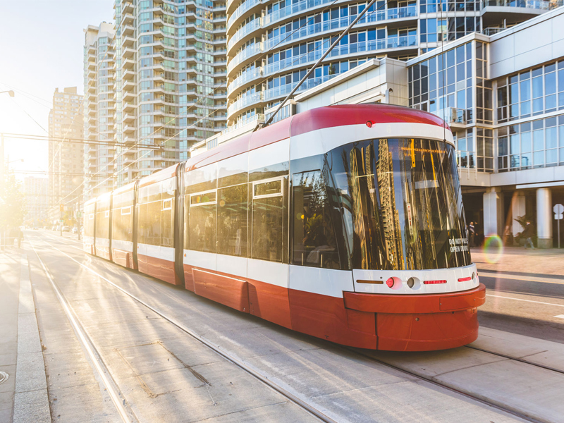 Toronto downtown with new streetcar