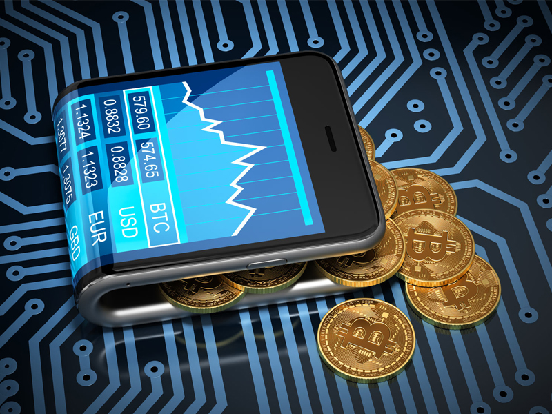 Virtual Wallet Smartphone Bitcoins On Printed Circuit Board concept