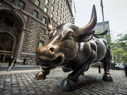 Wall Street Bull bronze sculpture in the Financial District in Manhattan