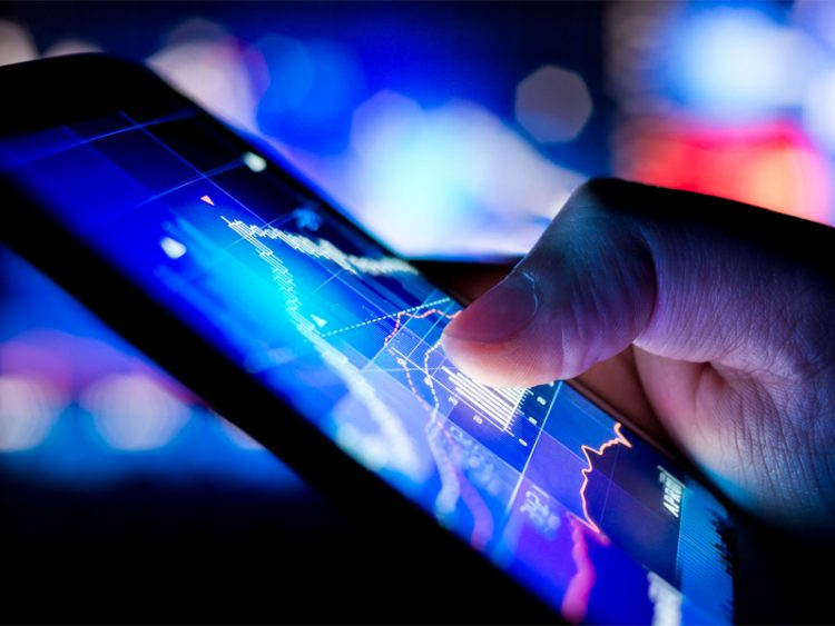 checking stock market data on a mobile device
