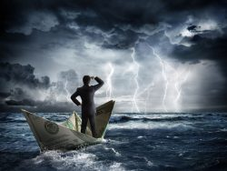 dollar boat in the bad weather illustration economic instability
