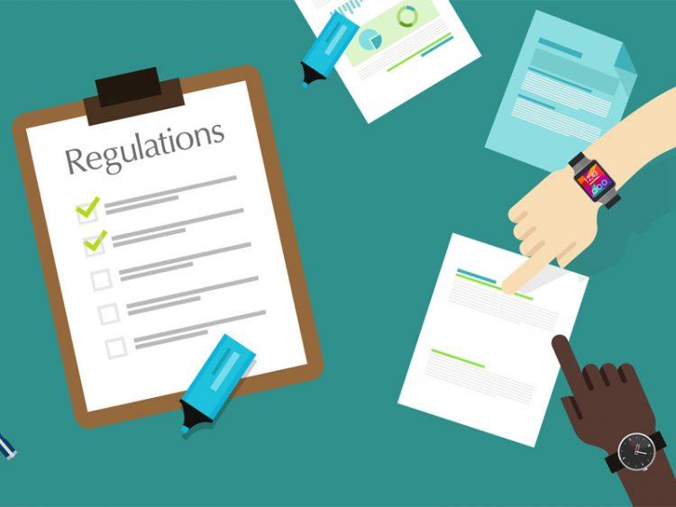 law regulations paper flat illustration