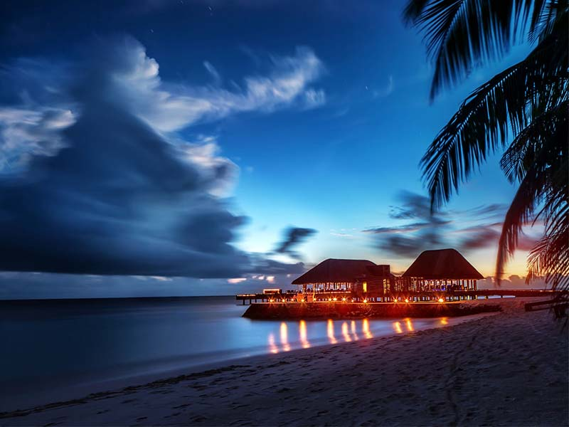 Paradise beach at night, Maldives landscape