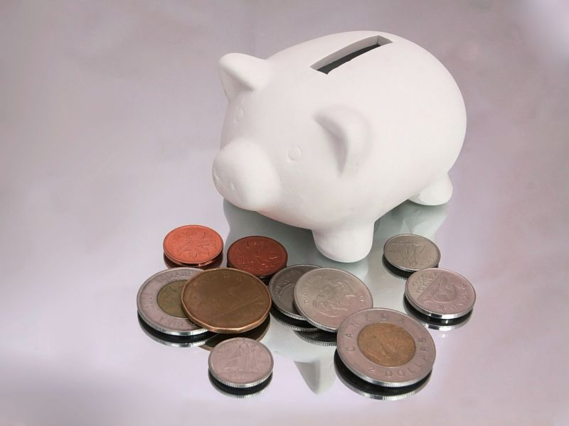 white piggy bank with change canadian scattered around