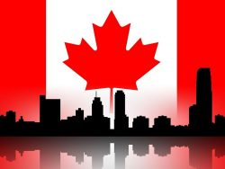 Building silhouettes of a city and Canadian flag