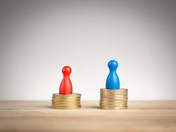 wage gap concept, blue figure symbolizing men and red pawn women,