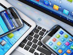 Macro view of laptop computer, tablet and smarphone