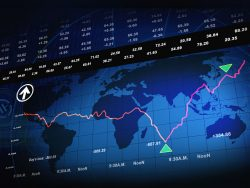 Stock market chart with world map