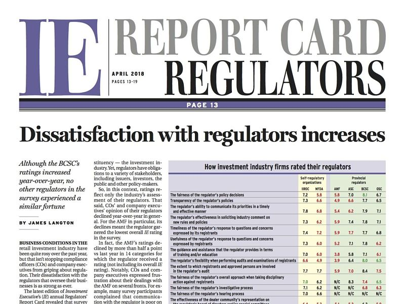 Regulators Report Card masthead April 2018