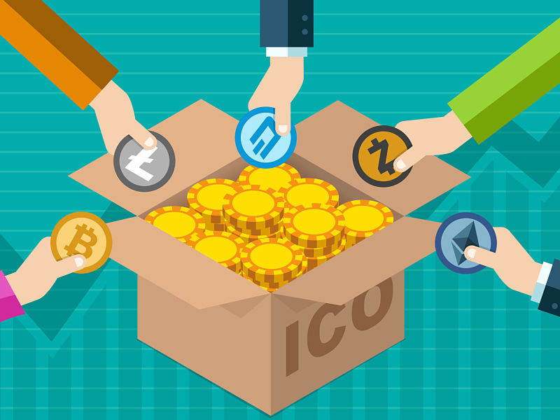 Many hands choosing cryptocurrency coins from box labeled ICO